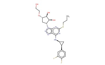 (1S,2S,3R,5S)-3-(7-(((1S,2S)-2-(<span class='lighter'>3,4</span>-DIFLUOROPHENYL)CYCLOPROPYL)AMINO)-5-(PROPYLTHIO)-<span class='lighter'>3H-</span>[1,2,3